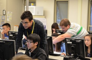 TEALS Volunteers Robert and Tony assist their AP CS students at Hazen High School