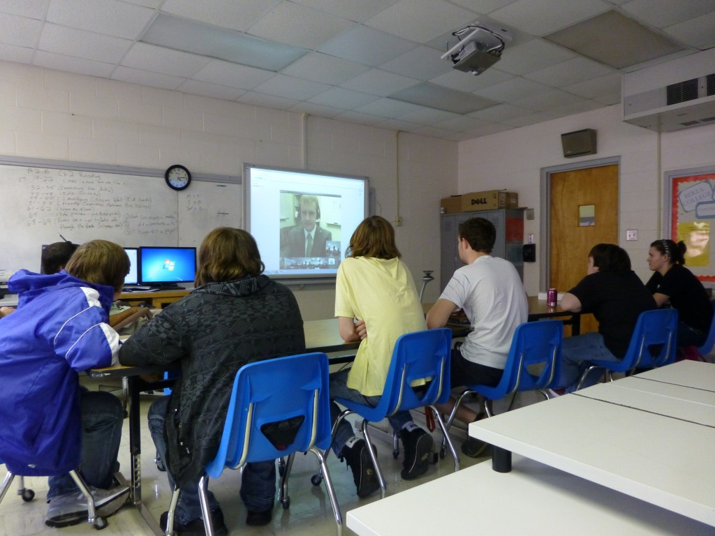 TEALS Volunteer Isaac teaches Intro CS students in Lee County KY, from his office in Redmond, WA