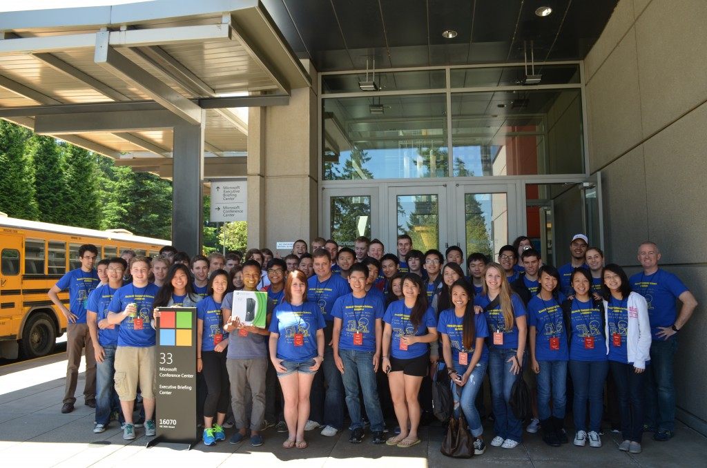 Students at Microsoft's Redmond campus for the TEALS field trip 2013