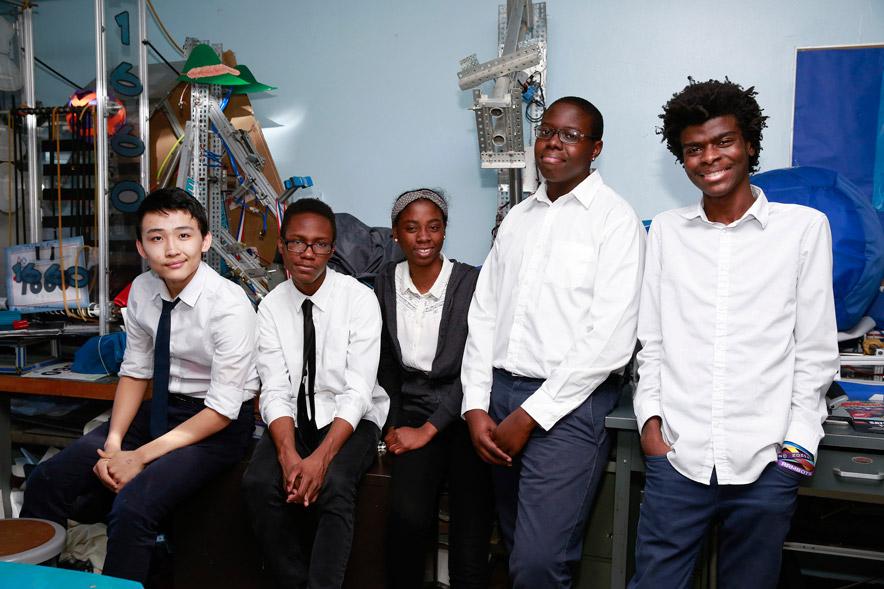 Students Erkhes Batjargal, Matthew Morris, Navine Thompson, Adonis Bodzwa, Jamesey Exime