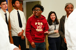 Students Luka Sikharulidze (left), Calvin Smith, Wayson Hatchett (red hoodie center), Amisha Rana, Navine Thompson (right)