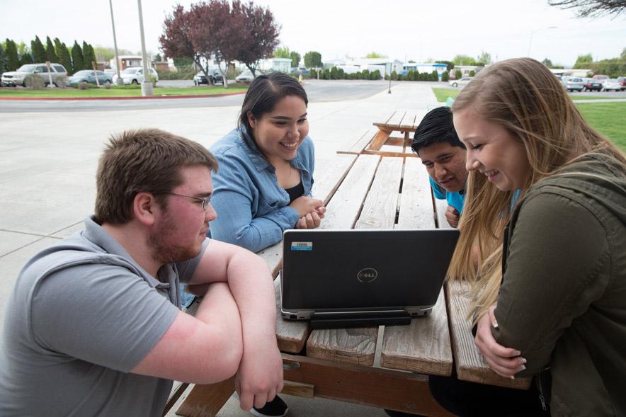 Students Brenden DeLong, Stefanie Arredondo, Juan Zetina, and Hannah Gonzalez