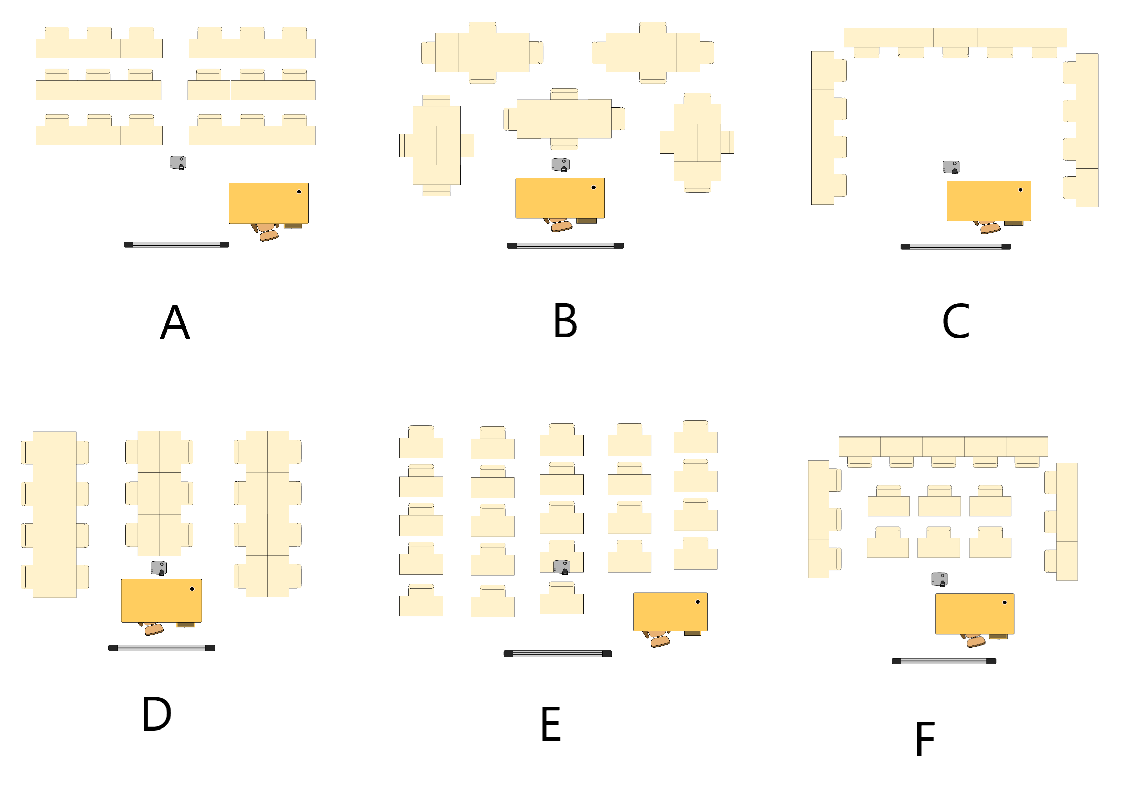 Classroom Layouts - If you are unable to view, choose <q>Other</q> below and describe